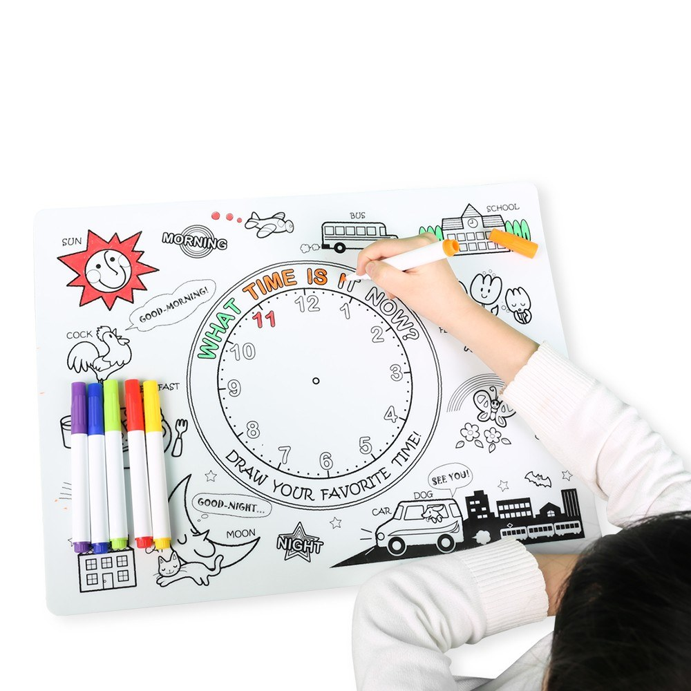Kids Silicone Coloring Placemats Time Learning with 6 Non-toxic Markers Children Coloring Drawing Mat Reusable Non-slip Washable Heat-resistant 15.7 * 11.8 Inch