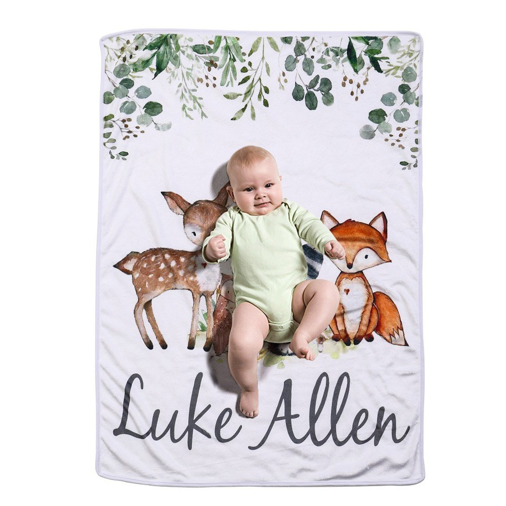 Baby Blanket Flannel Swaddle Super-Soft Plush Cartoon Bedding For Stroller Crib Cuddle 28 * 40 Inch Fox Small Animals for Infant Kid