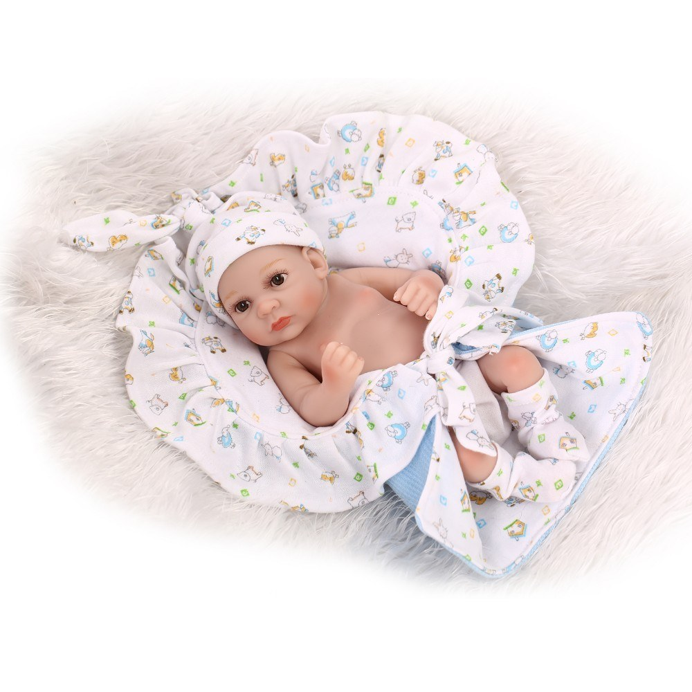 Reborn Baby Doll Play Dolls 10inch 25cm Full Vinvl Body Washable With Quilt Lifelike Cute Gifts Toy Blue Boy