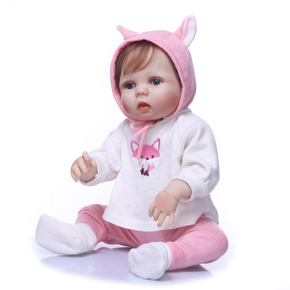 22inch 55cm Reborn Baby Doll Girl Full Silicone Doll Baby Bath Toy With Clothes Lifelike Cute Gifts Toy Pink