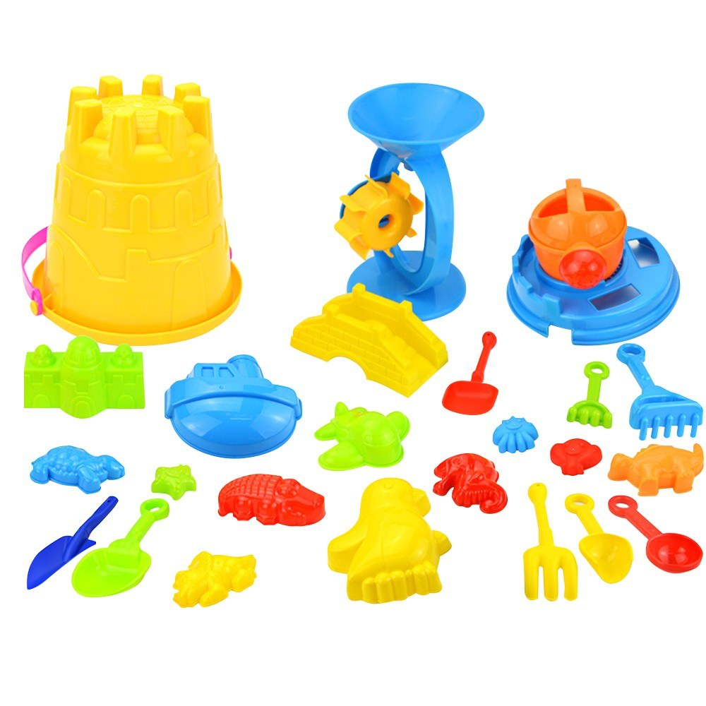 25 Pcs Kids Beach Sand Toys Set Sand Water Wheel Bucket Shovels Rakes Watering Can Molds Beach Tool Kit Sandbox Toys Toddlers