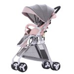 Baby Stroller High View Pram One Step Fold Lightweight Convertible Baby Carriage with Multi-Positon Reclining Seat Extended Canopy for Infant Toddler Light Pink