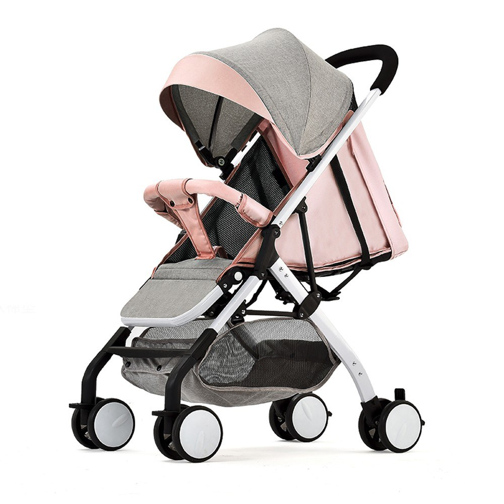 Airplane Baby Stroller One Step Fold Lightweight Convertible Baby Carriage with 5-Point Safety Harness Multi-Positon Reclining Seat Extended Canopy for Infant Toddler Light pink
