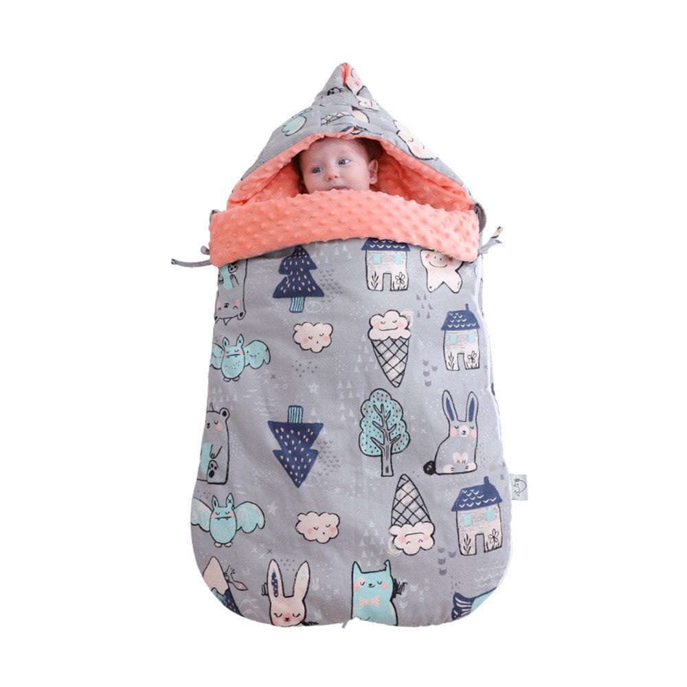 Baby Wrap Swaddle Blanket Cotton Hooded Sleeping Bag Sleep Sack Stroller Blanket For Newborn Infant Toddler Grey