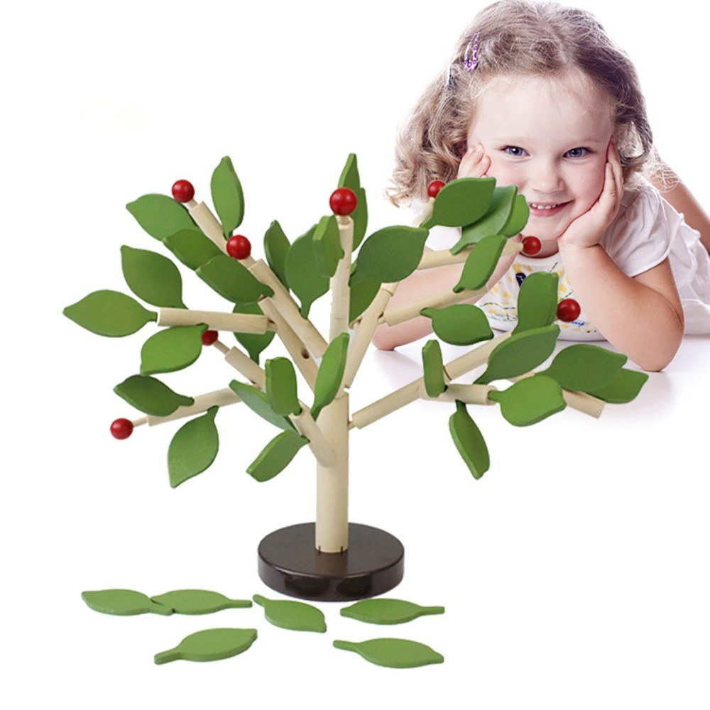 Wooden Tree Building Toy Set Building Blocks Playset for Kids Girl Boy Educational Toys Gifts DIY Creative Home Garden Decor Age 3,4,5,6 Green