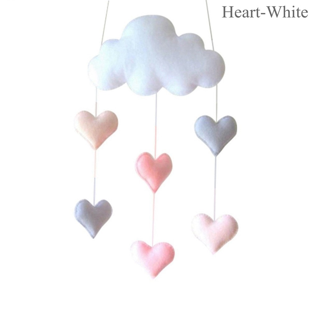 Lovely Cloud Raindrop Heart Baby Gift Nursery Fabric Tent Wall Hanging Decor Shower Gift White Pink Photo Props Bed Hanging