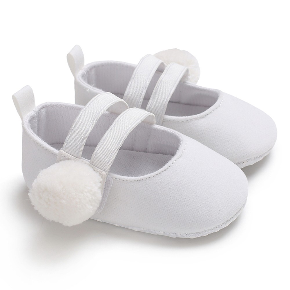 Baby Girls Shoes Cloths Shoes Soft Sole Non-Slip Prewalker Pompon Princess Shoes White 13cm