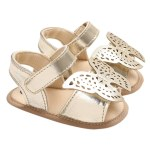 Baby Girls Shoes Soft Sole Non-Slip PU Leather Sandal Prewalker Butterfly Princess Shoes Gold 13cm For 12-18 Months