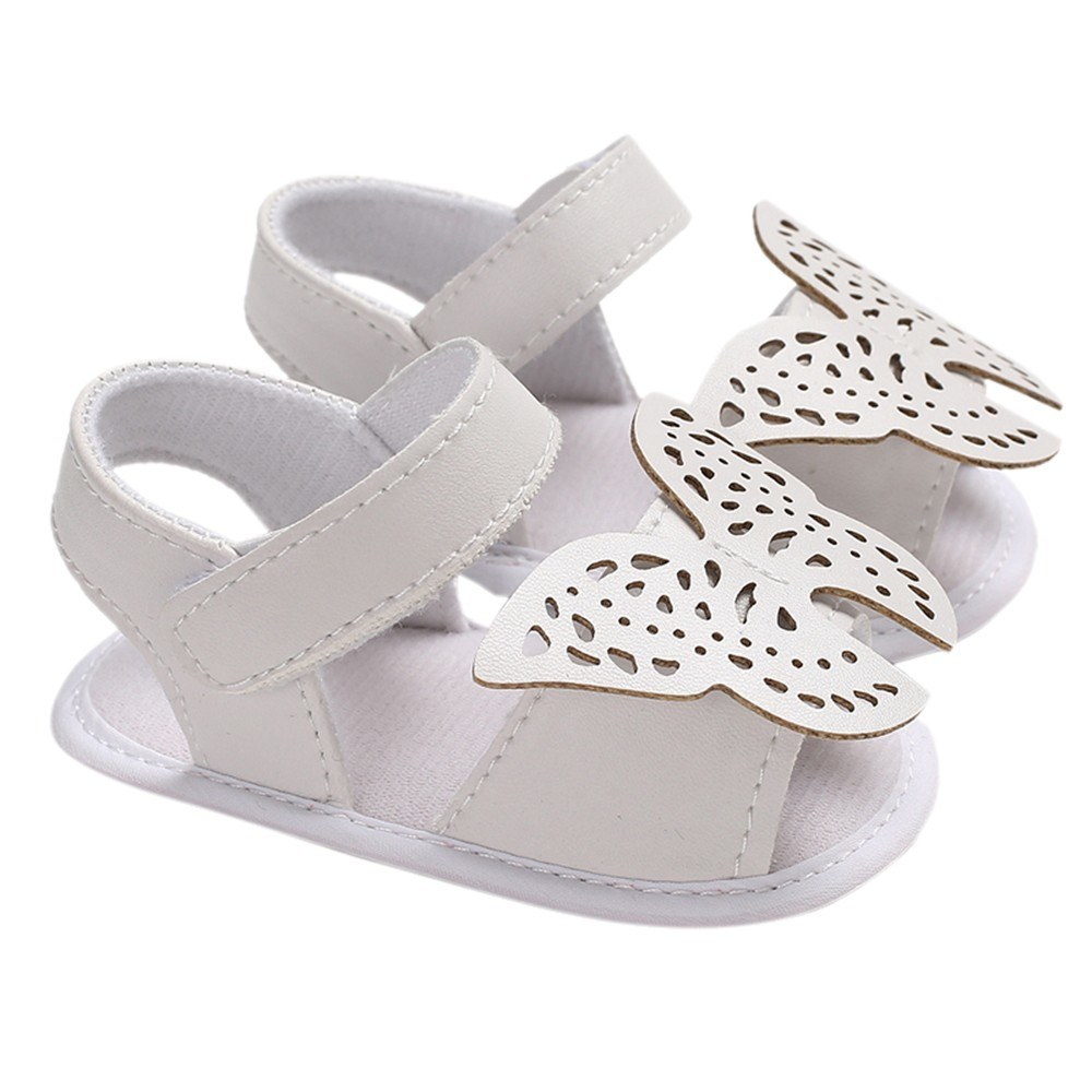 Baby Girls Shoes Soft Sole Non-Slip PU Leather Sandal Prewalker Butterfly Princess Shoes White 12cm For 6-12 Months