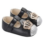 Baby Girls Shoes Soft Sole Non-Slip Leather Sandal Prewalker Crown Sequins Princess Shoes Black 12cm For 6-12 Months