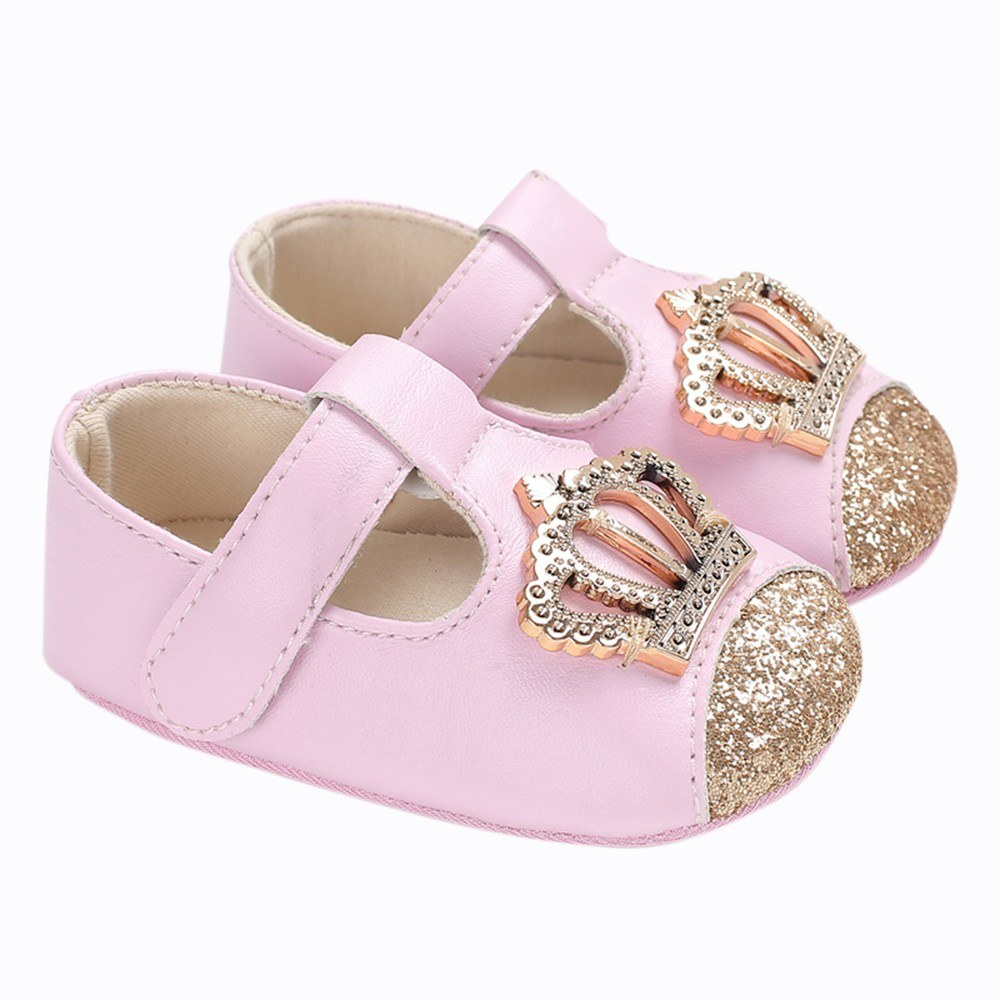 Baby Girls Shoes Soft Sole Non-Slip Leather Sandal Prewalker Crown Sequins Princess Shoes Pink 12cm For 6-12 Months