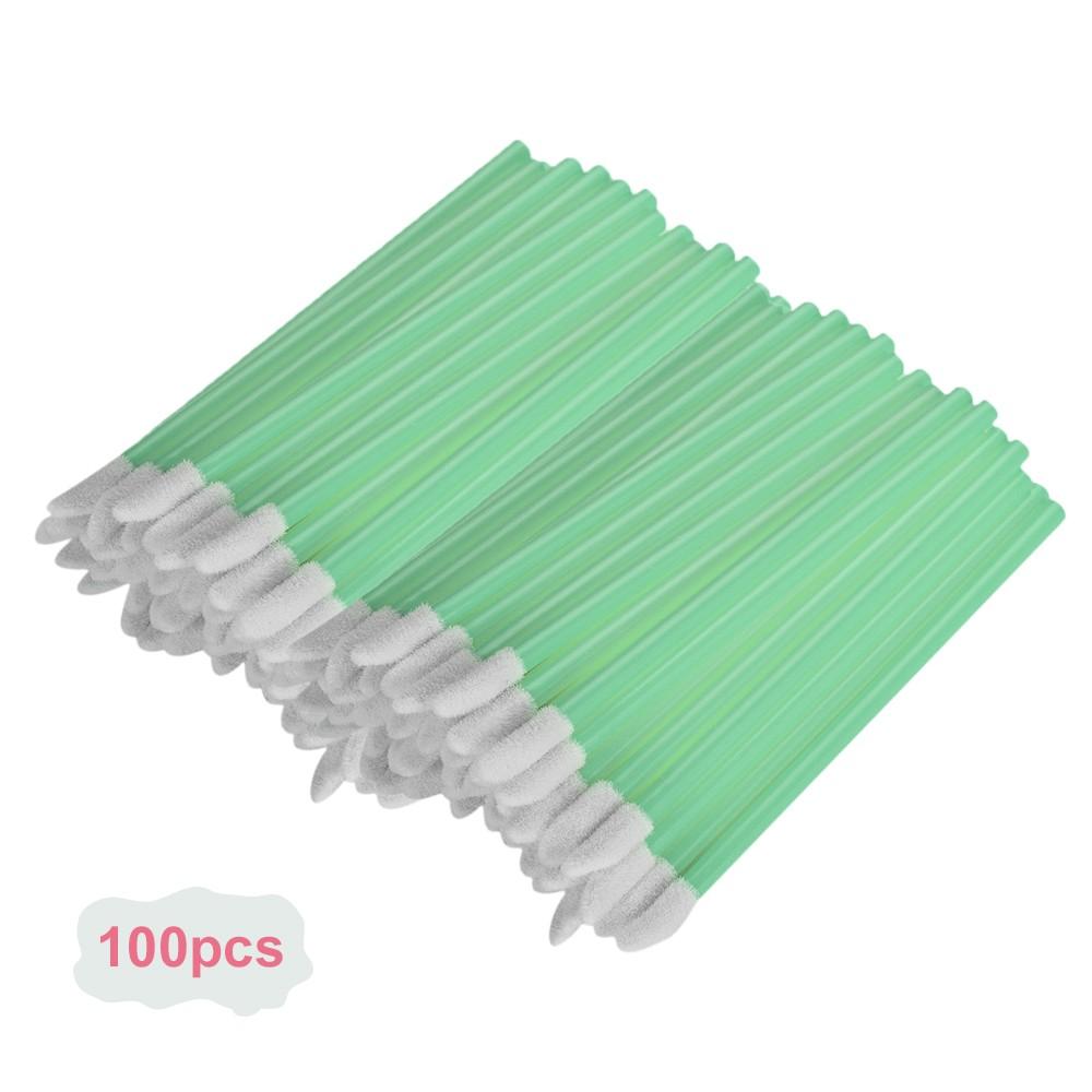 100pcs Diposable Hollow Makeup Lip Brush Lipstick Applicator Cosmetic Lip Gloss Wands Applicator Makeup Tool Light Green