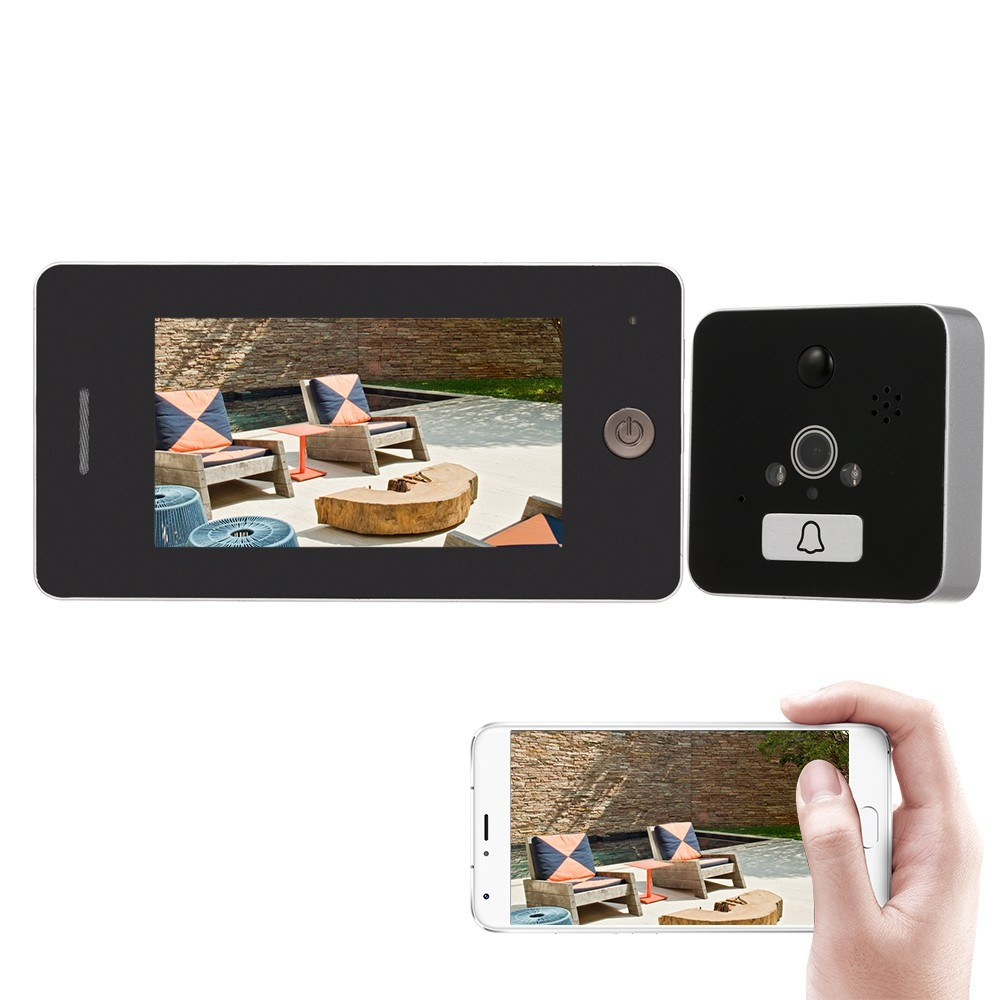 Wireless Peephole Video Doorbell Digital Door Viewer Security Peephole High-definition Color LCD Screen Security Camera Monitor APP Control