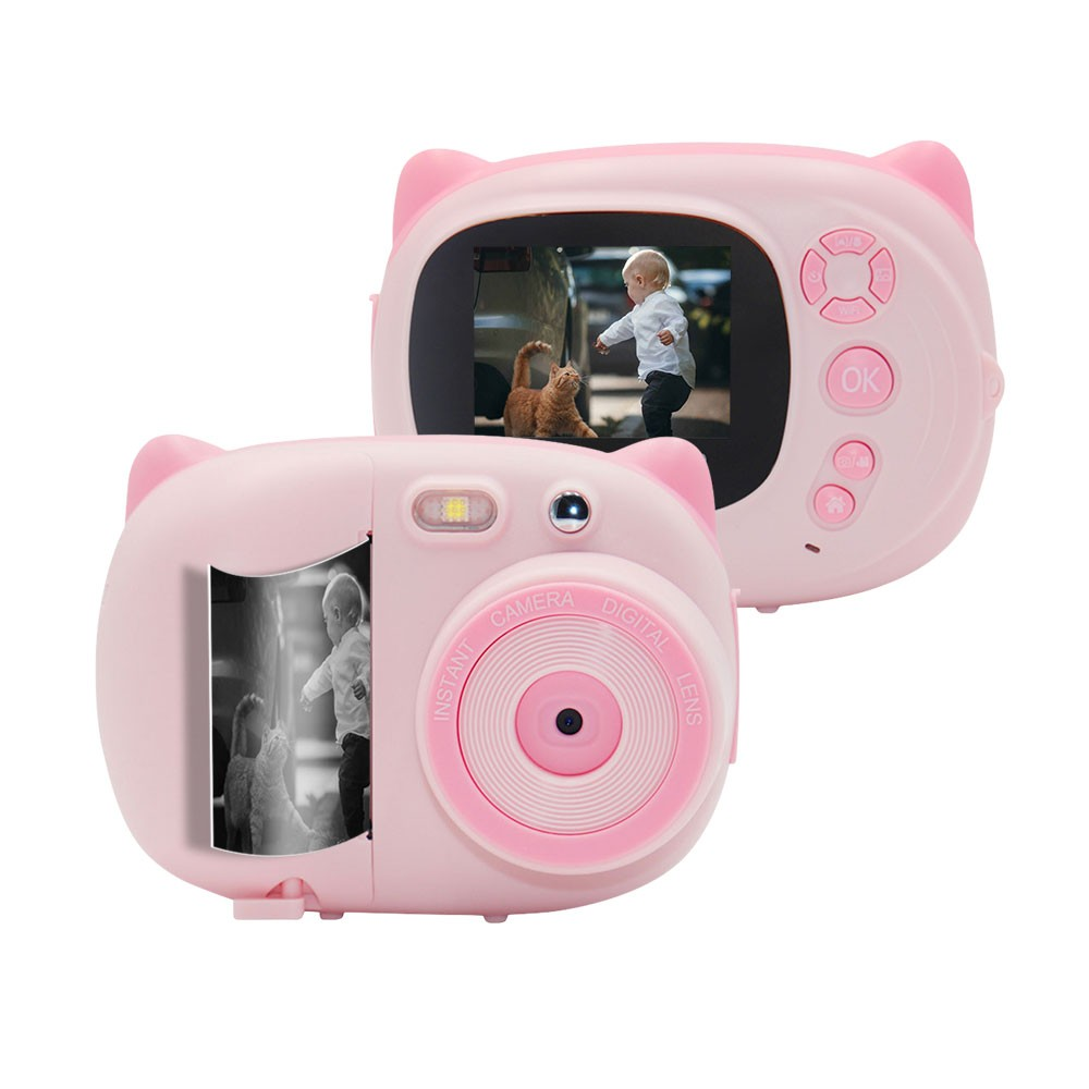 Mini Cute Cartoon Children Video Camera Camcorder Photo Printing 15 Mega Pixels 1080P with 2.4 Inch TFT IPS Screen Flash Mode Support WiFi Connection Instant Printing Sharing Gifts for Children Kids Students