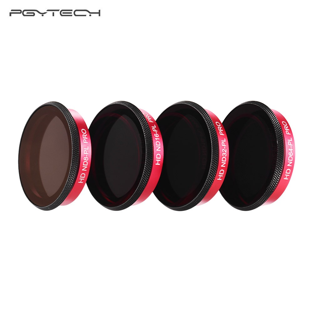 PGYTECH Professional Camera Lens ND-PL Filter Set 4 Pack (ND8/PL,ND16/PL,ND32/PL,ND64/PL) with Cleaning Cloth Storage Box Photography Accessories for DJI OSMO Action Camera
