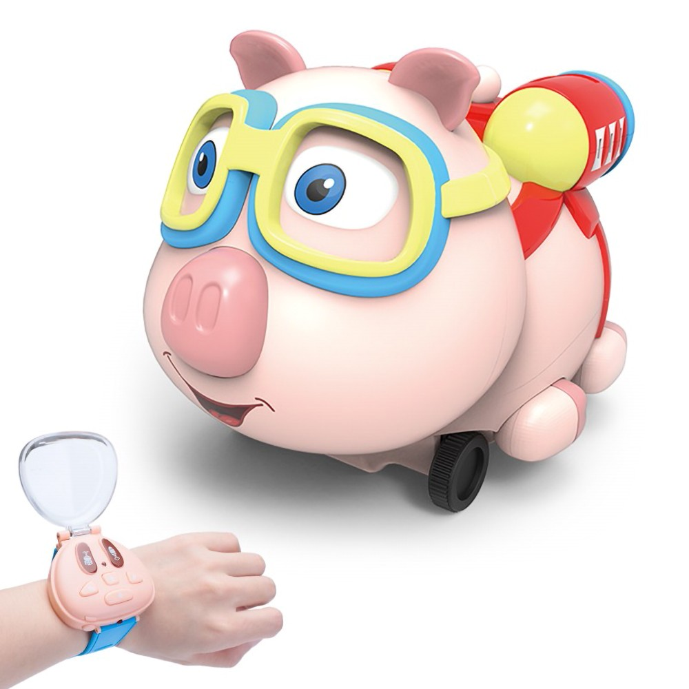 R09 RC Pig Car RC Watch Car Pig Toy Robot 2.4G Watch RC Car Amimal Toy with Follow Spray Music Function