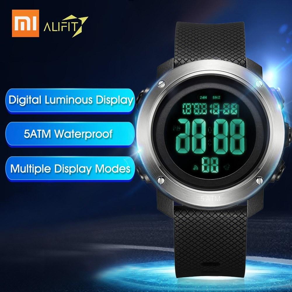 Xiaomi ALIFIT Multifunctional Digital Watch Outdoor Waterproof Backlight Luminous Display Calender Alarm Stopwatch Countdown Sports Watch