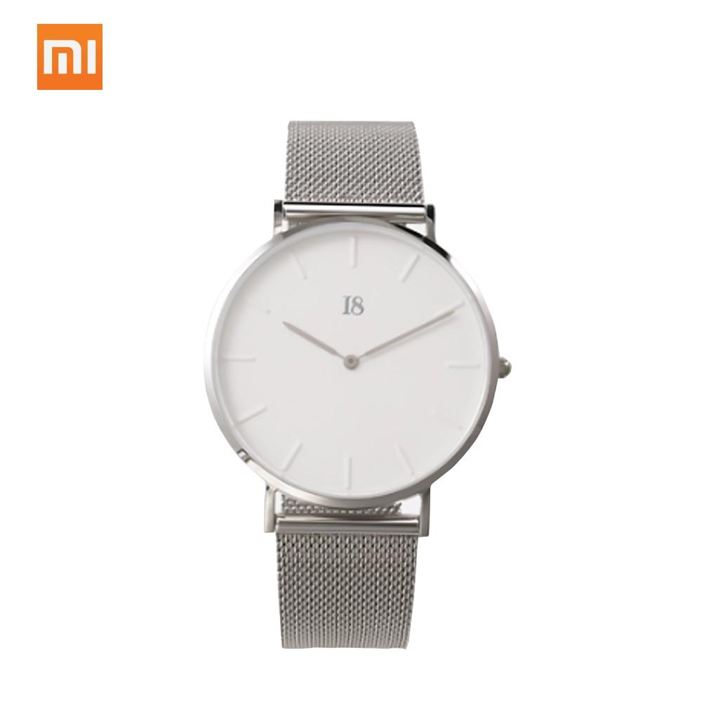 Original Xiaomi I8 Men Women Quartz Wristwatch Couple Watch Stainless Steel Quartz Movement High Quality 316L Stainless Steel Free Leather Strap