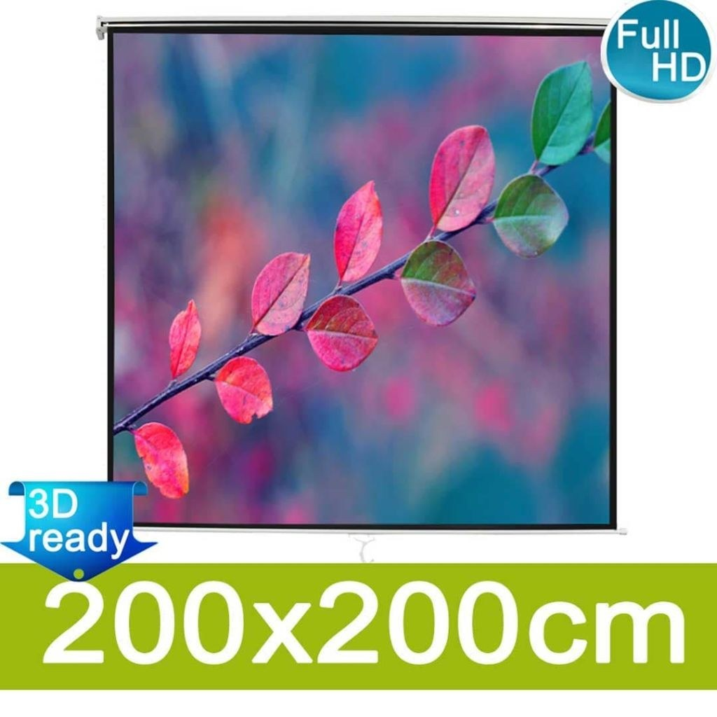 Manual projection screen 203x203 ceiling or wall mounting White