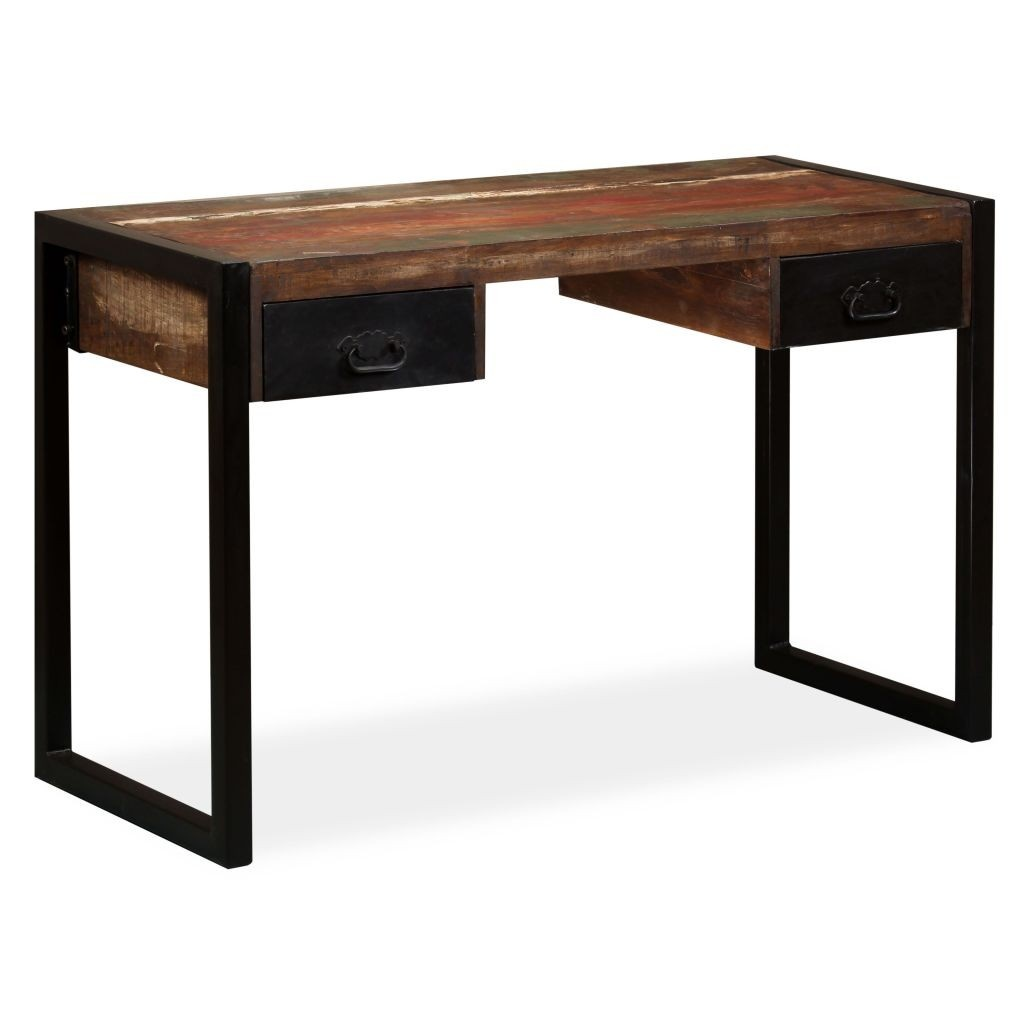 Desk with 2 drawers old wood solid 120 x 50 x 76 cm