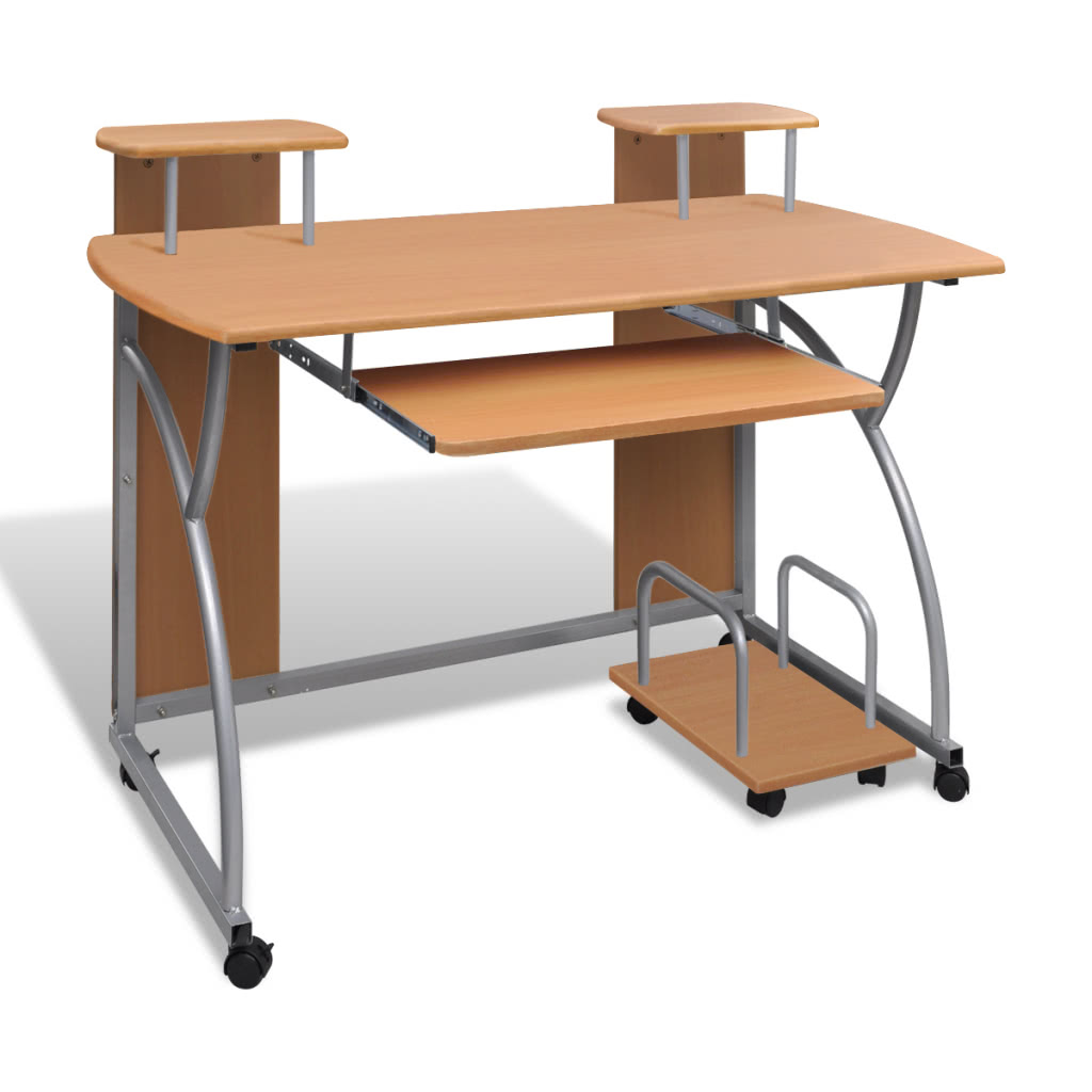 Mobile Computer Desk Pull Out Tray Brown Finish Furniture Office