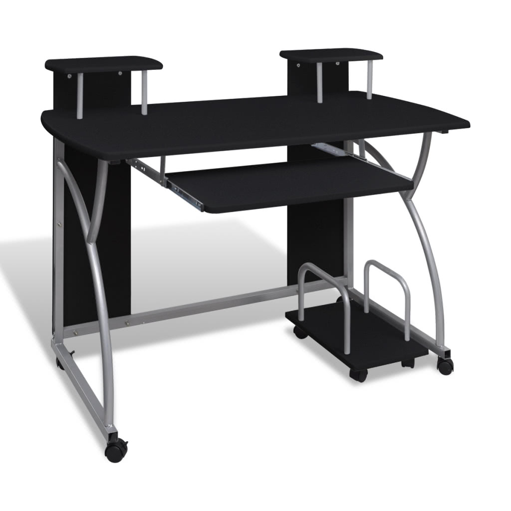 Mobile Computer Desk Pull Out Tray Black Finish Furniture Office