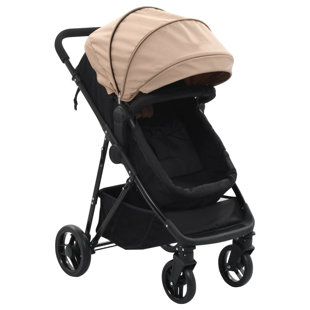 Stroller / Pram 2-in-1 Taupe Gray and Steel Black