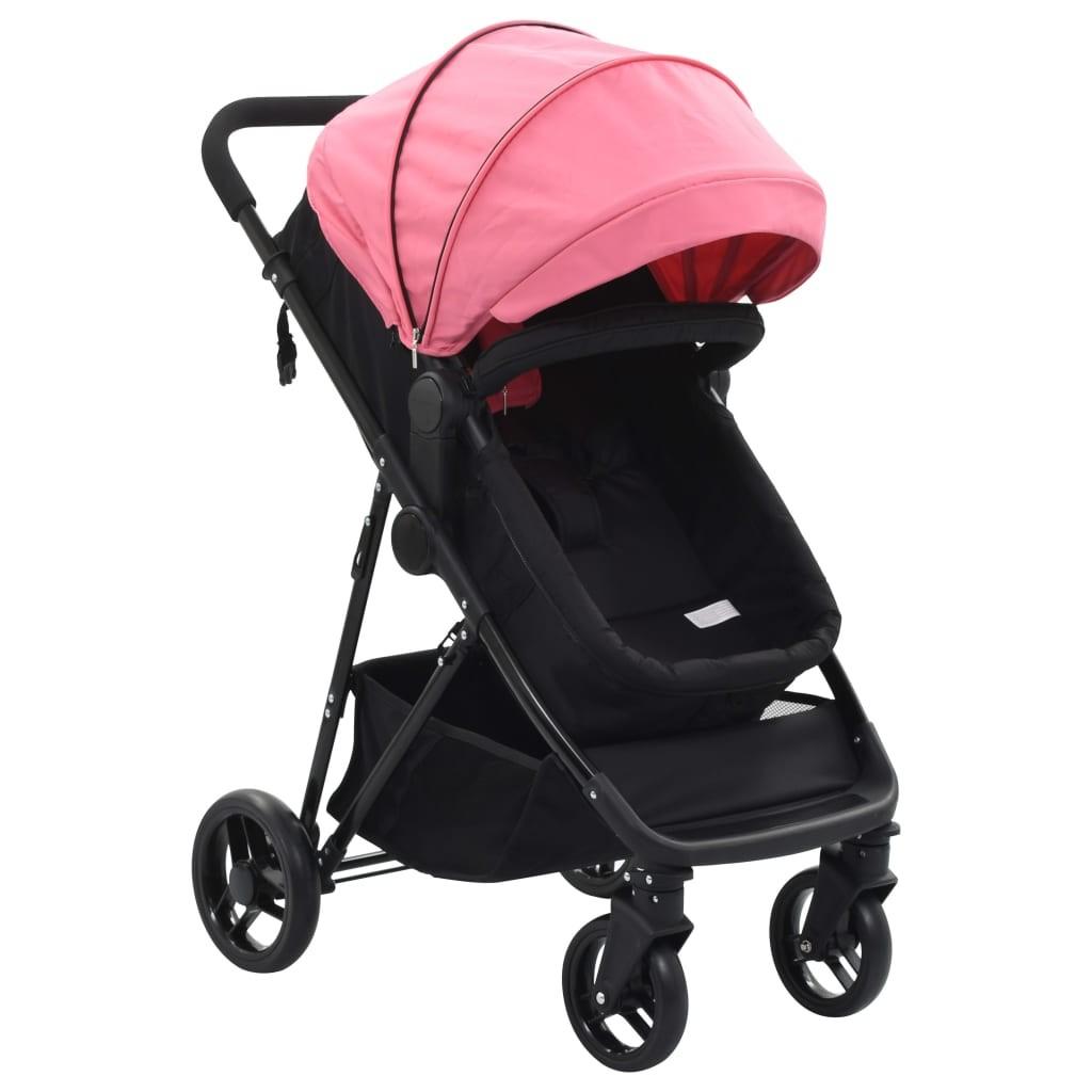 Stroller / Pram 2-in-1 Pink and Black in Steel