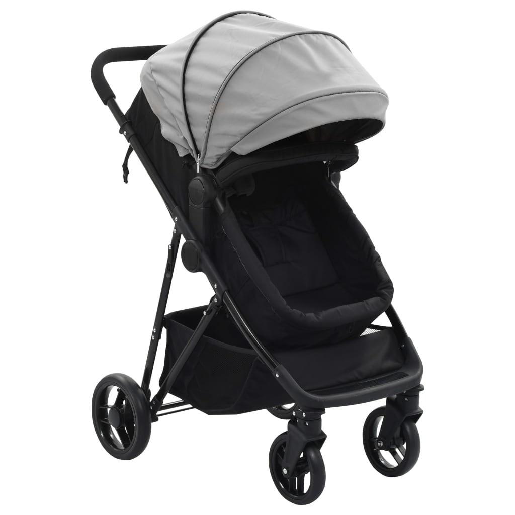 Stroller / Pram 2-in-1 Gray and Black in Steel
