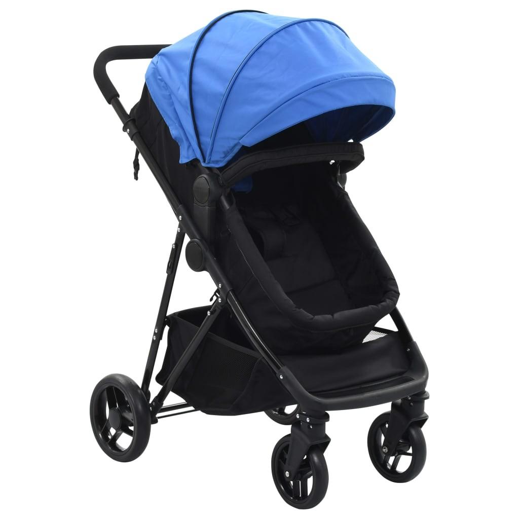 Stroller / Pram 2-in-1 Blue and Black in Steel