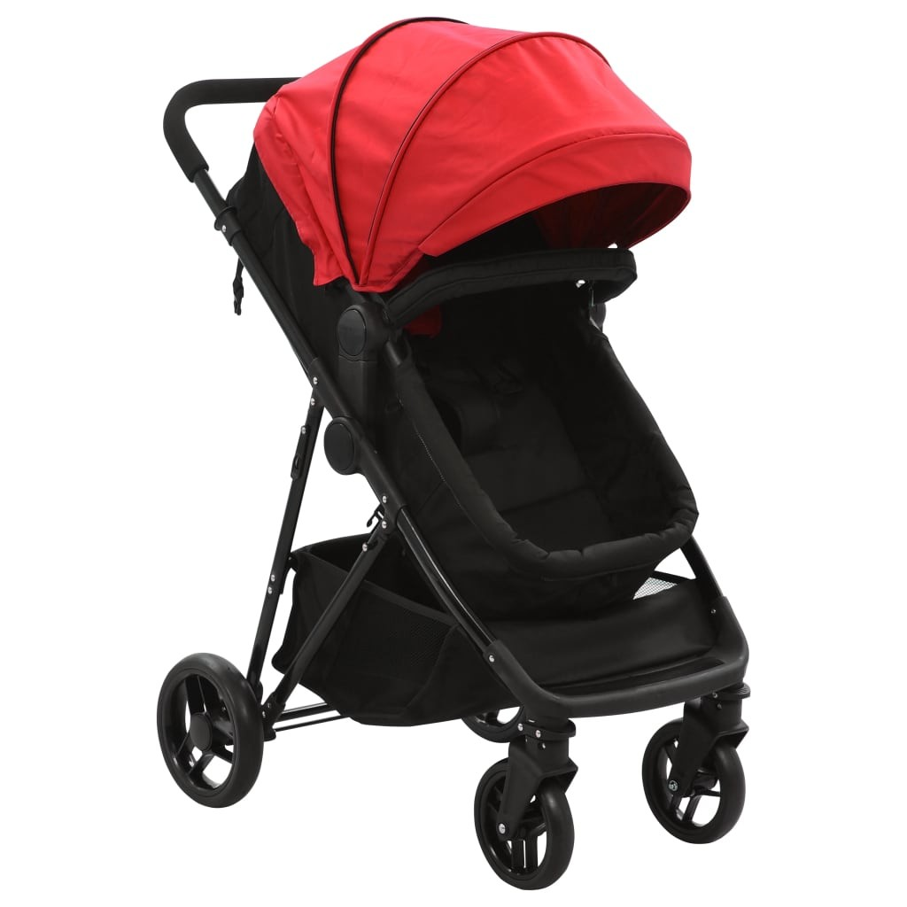 Stroller / Pram 2-in-1 Red and Black in Steel