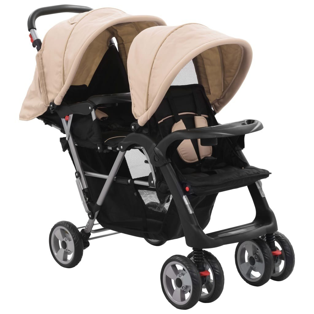 Twin Tandem Gray and Black Steel Stroller