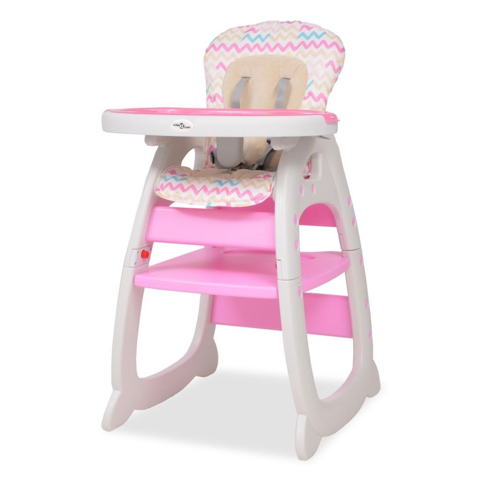 3 in 1 Convertible High Chair with Pink Table