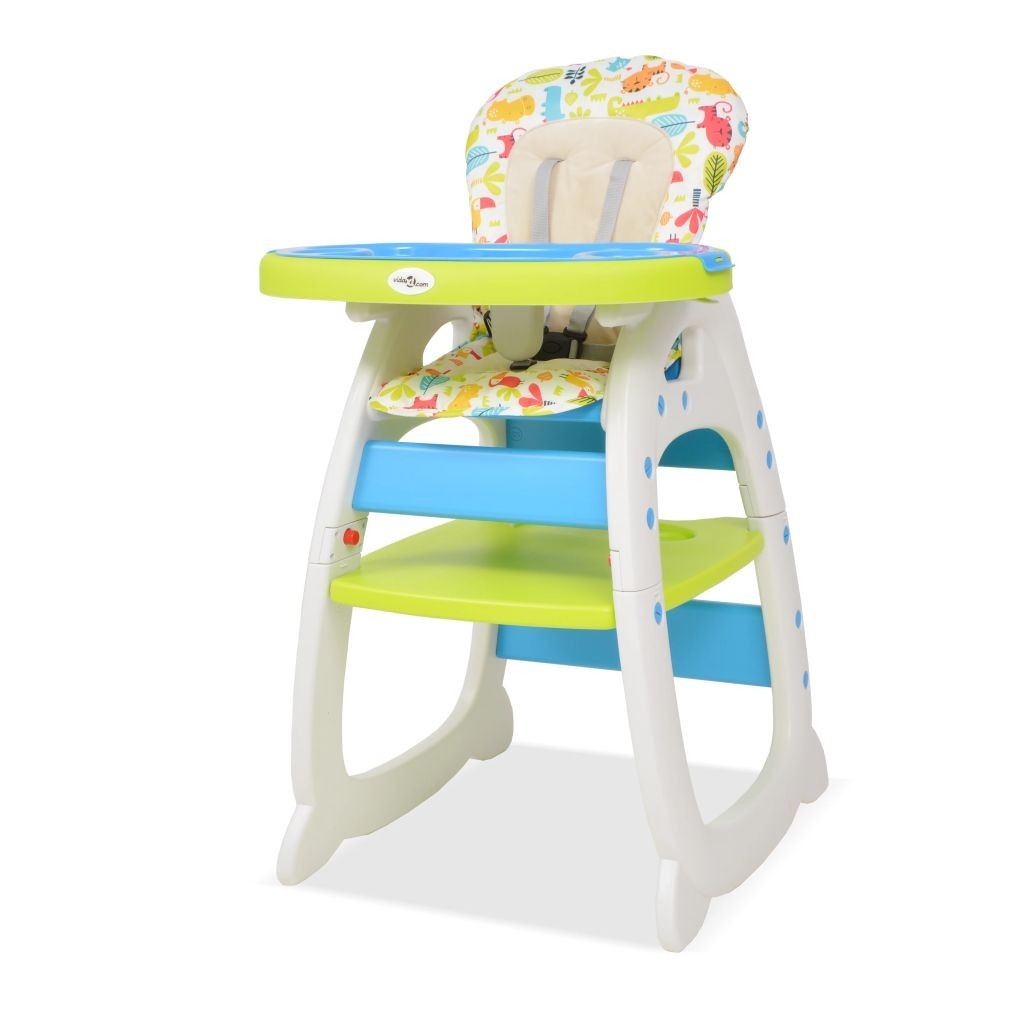 3 in 1 Convertible High Chair with Blue and Green Table