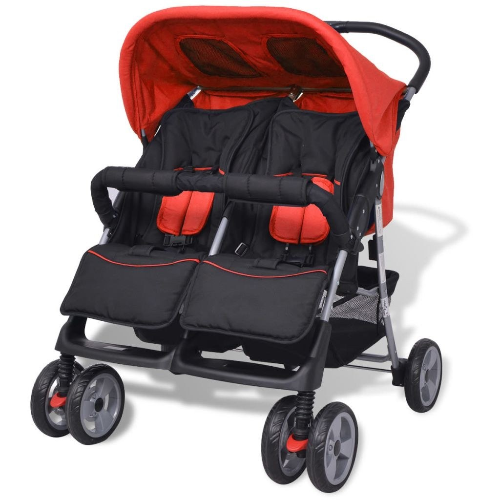 Twin Stroller in Red and Black Steel