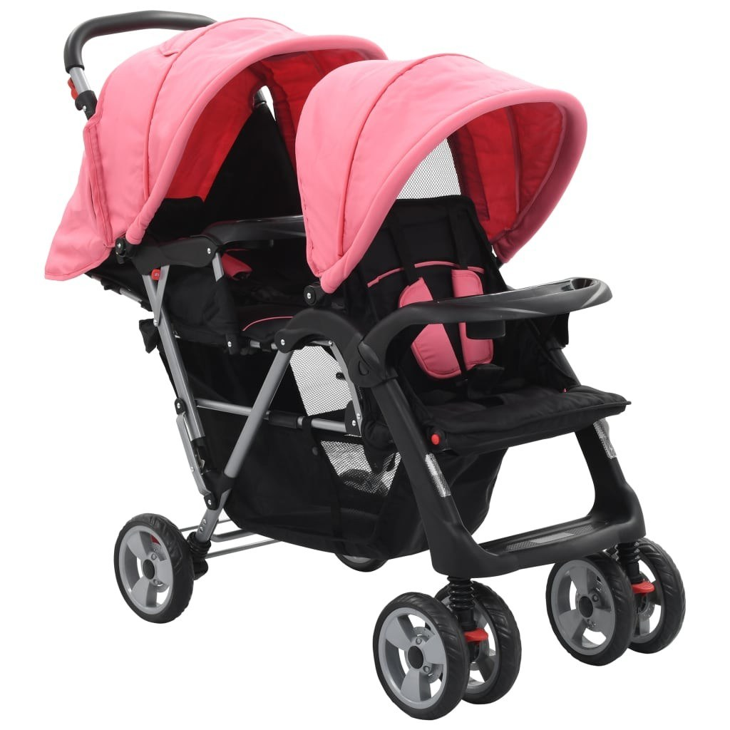Pink and Black Twin Steel Tandem Stroller