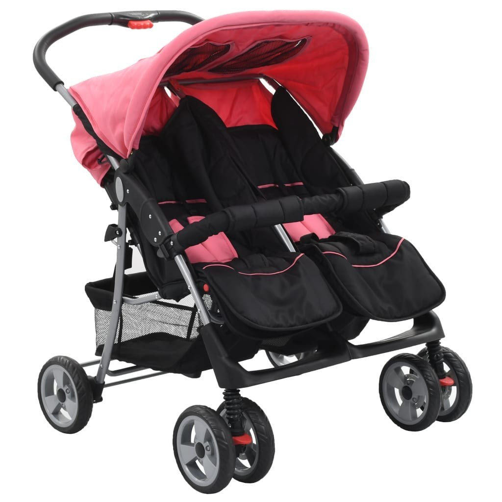 Pink and Black Steel Twin Stroller