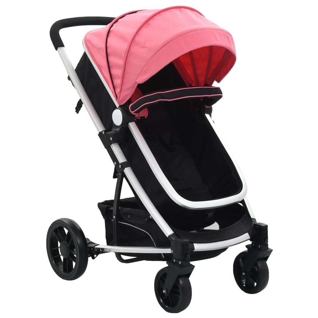 2-in-1 Pink and Black Aluminum Stroller / Pram