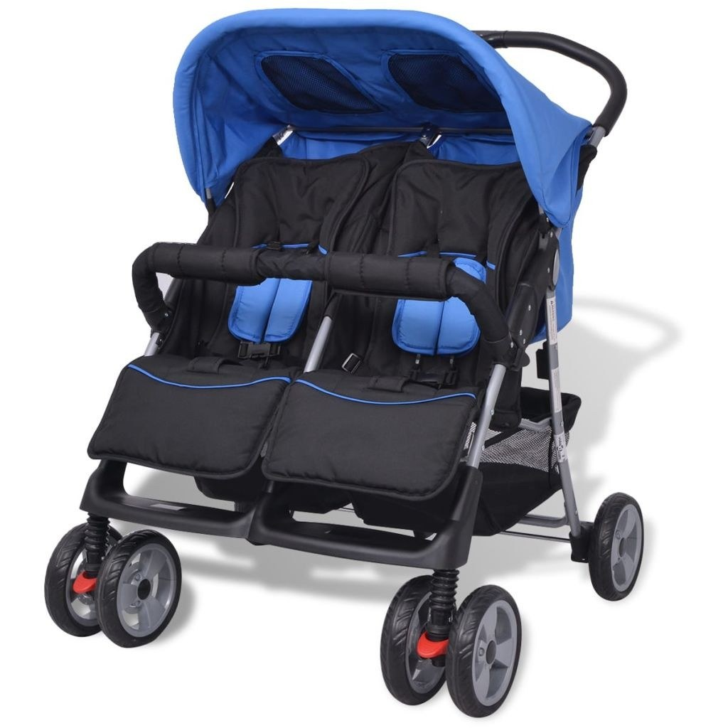 Twin Stroller in Blue and Black Steel