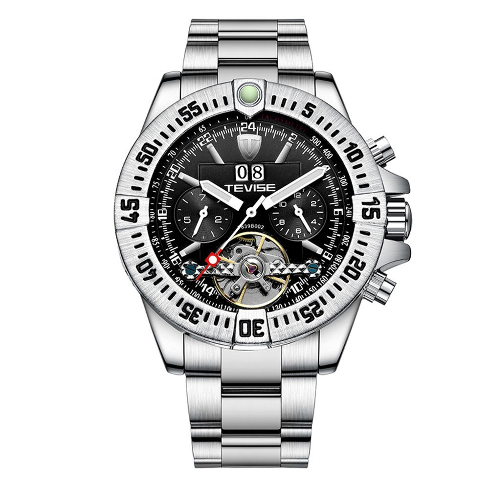 TEVISE Men Automatic Mechanical Watch Multi-Functional Business Calendar Watch Luminous Hands Waterproof Wrist Watch