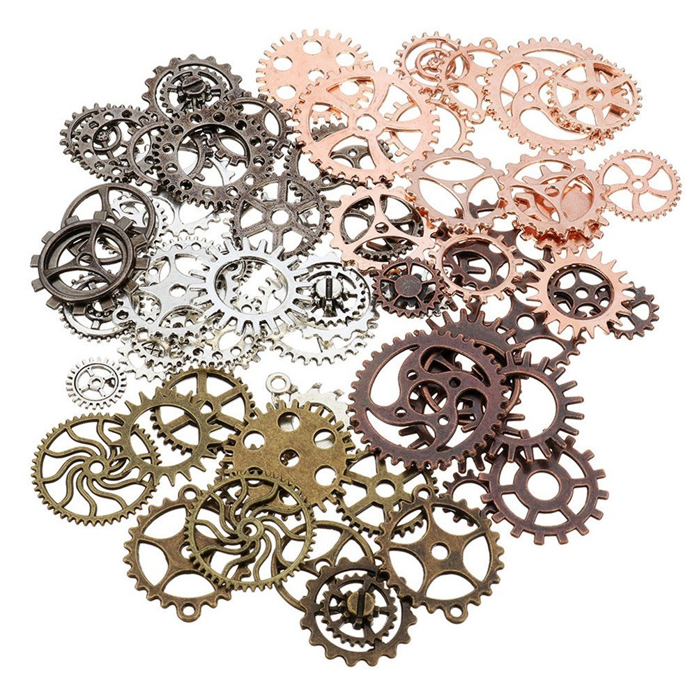 Alloy Clock Watch Gear Wheel DIY Ornament Accessories Mechanical Gear Wheel Charms Jewelry Arts Parts for Crafting