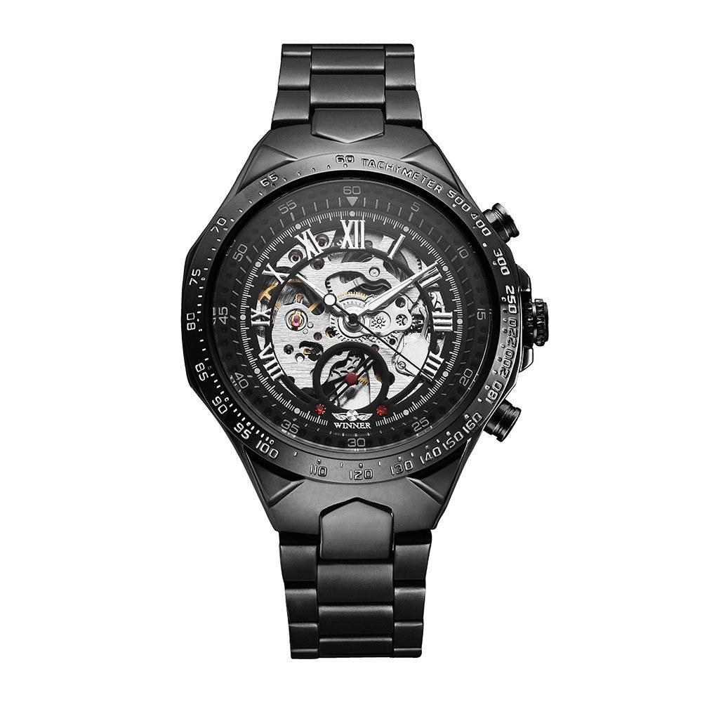 WINNER High-quality Skeleton Semi Automatic Men Mechanical Watch Big Dial Hand-Winding Business Men Wristwatch