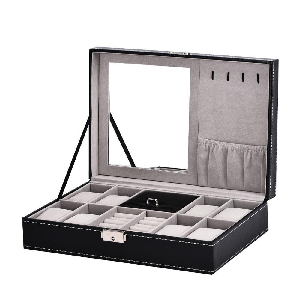 Men Women Black Practical Watch Display PU Leather Box Jewelry Case Storage Organizer Black Watch Storage Case