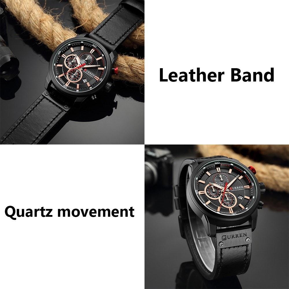 Curren High Quality Watch Quartz Wrist Analog Digital Leather Fashion Casual Business Men Sports Watches