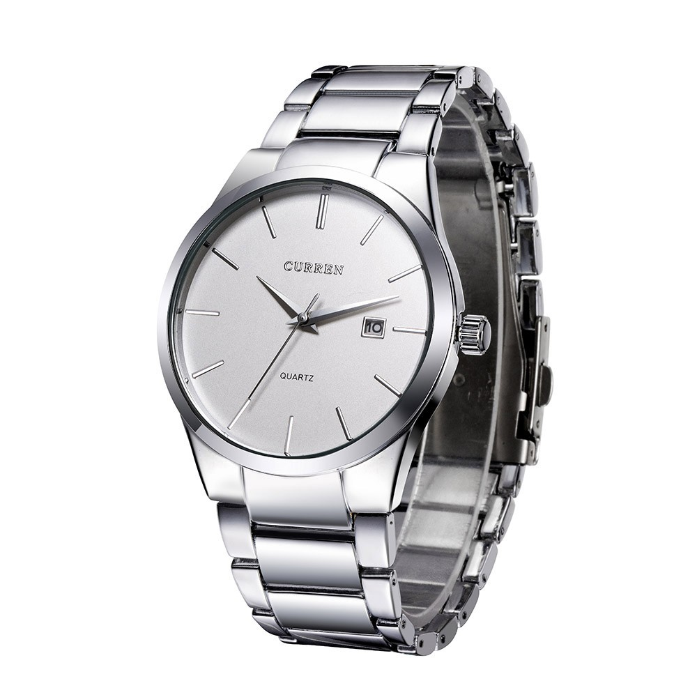 CURREN Vintage Wristwatch Simple Dial Plate Stainless Steel Watch with Calendar