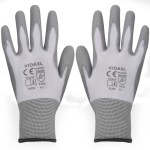 Work Gloves PU 24 Pairs White and Gray Size 9/L