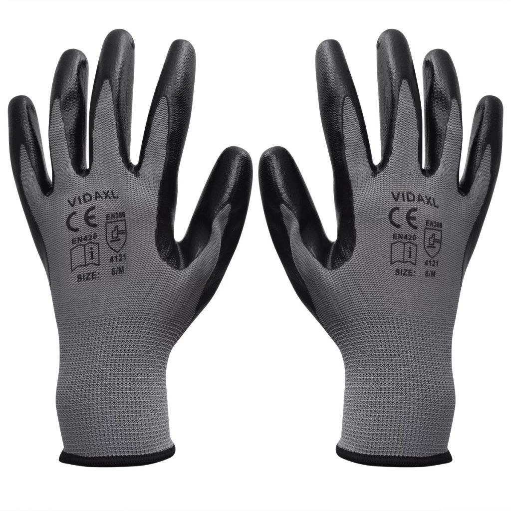 work gloves nitrile 24 pairs gray and black Gr. 8 / M