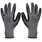 Work Gloves Nitrile 24 Pairs Grey and Black Size 8/M