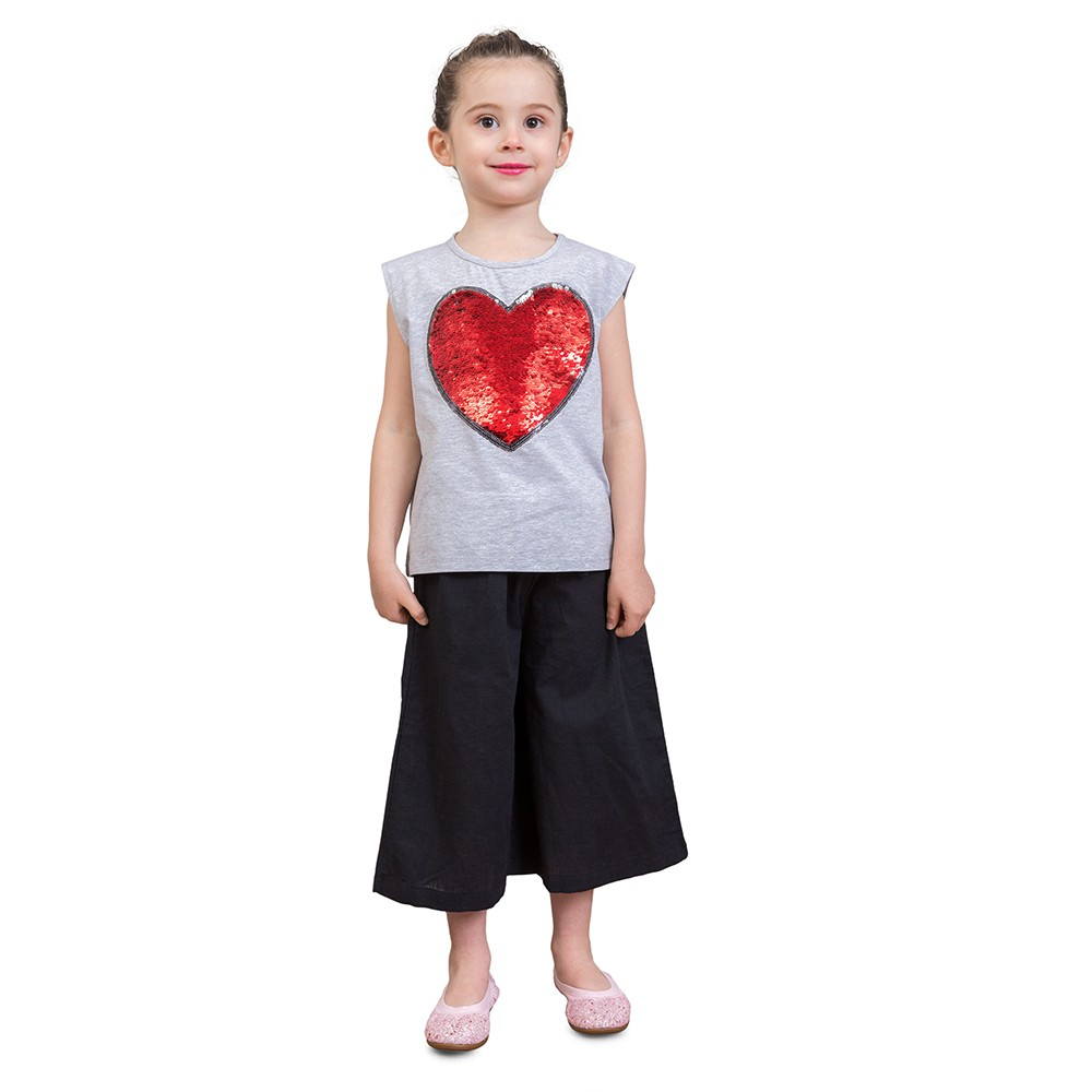 Girls T shirts Cute Heart-Shaped Sequins Cotton Summer Sleeveless Casual Kids Tops Children's Clothing Grey 3T