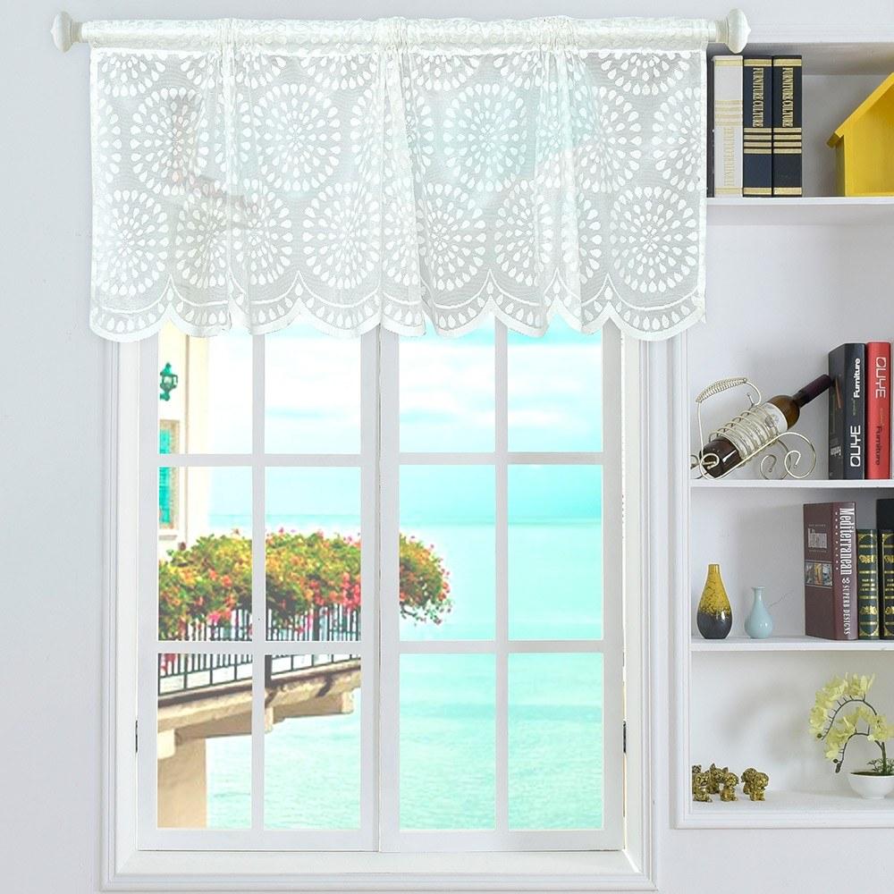 Valance Raindrop Style Short Sheer Curtains Rod Pocket Mesh Window Sheer Drapes for Kitchen Balcony Home 18